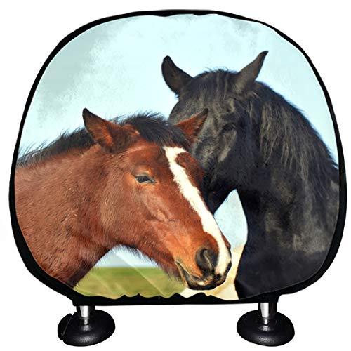 Fundas universales para reposacabezas Dos hermosos caballos juntos Fundas para reposacabezas para automóviles Juego de 2 fundas universales para automóviles Vans Camiones Cojín para reposacabe