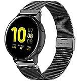 Vobafe Compatible con Correa Samsung Galaxy Watch Active 2 / Active/Galaxy Watch 4 / Watch 4 Classic/Watch 42 mm/Watch 3 41 mm, 20mm Correa de Metal de Malla de Acero Inoxidable, Negro