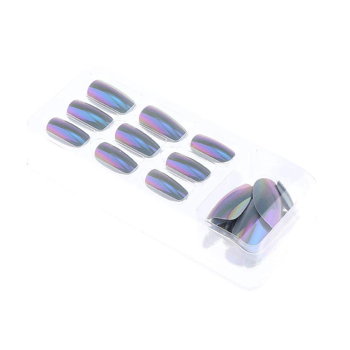 フィードシーン債務者B Blesiya 約24個 人工爪 ネイルアート ネイルヒント DIY ネイル道具 6色選べ - 02