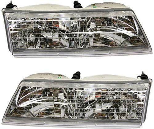 Headlight Compatible with 1995-1997 Mercury Grand Marquis Pair with Bulbs Clear Lens