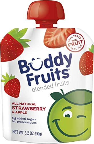 Buddy Fruits Pure Blended Fruit To Go Apple and Strawberry Applesauce 100 Real Fruit No Sugar product image