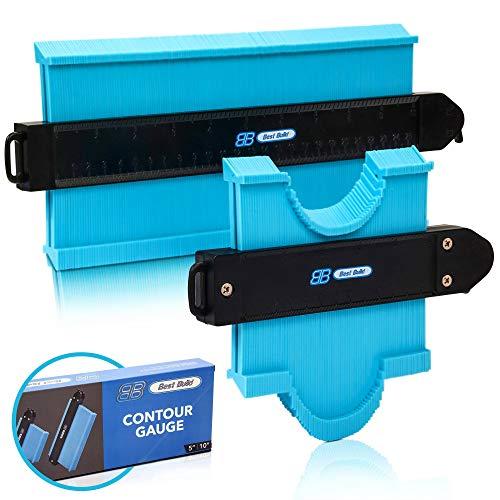 "[New Version] BEST BUILD Contour Gauge with Lock & Premium Box   10"" & 5"" Widen Shape Duplicator   2 Pack ABS Profile Construction Copy Measuring Tool   Irregular Surface Angle Template Ruler Corners"