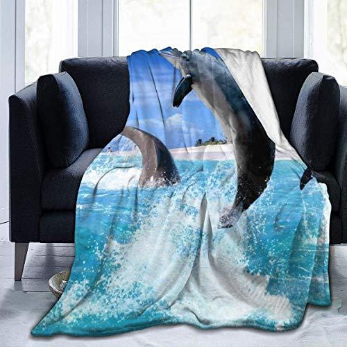 Fansu Kuscheldecke Flanell Decke, 3D Drucken Microfaser Flauschig Weich Warm Plüsch Wohndecke Fleece Tagesdecke Decke für Sofa & Bett (Delfin,150x200cm)