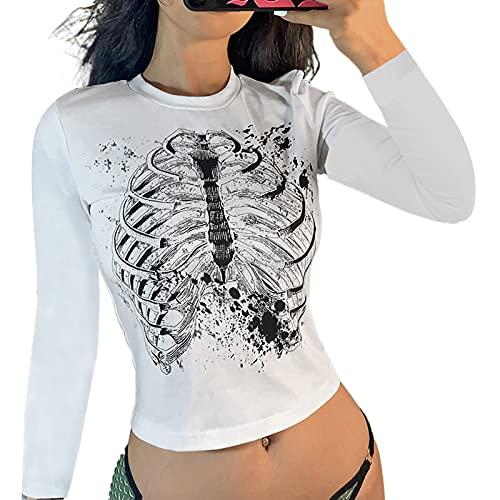 L&ieserram Camiseta sexy de manga corta para mujer, cuello redondo, gótico, Harajuku Grunge estampada, estilo vintage de los años 90 Y2K E-Girl para adolescentes, chicas, punk, Color blanco., M