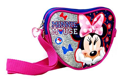 Minnie Mouse - glänzende Herz Kindertasche/Umhängetasche gefüttert mit Reißverschluß (18 x 15 x 5.5 cm) - super süße Disney Kindertasche