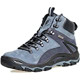 ROCKROOSTER Mens Hiking Boots, Waterproof 6'' Non Slip Outdoor Shoes, Breathable, Ankle, Lightweight, Coolmax, Anti-Fatigue,(KS258 Blue Grey, 9.5)