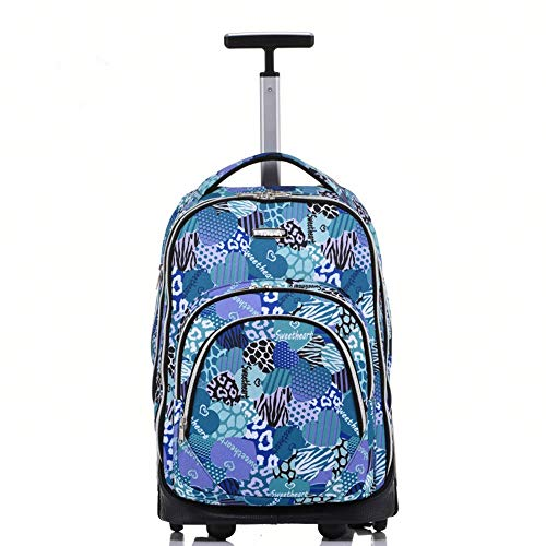 QINQIGBJ Trolley School Bag, 18 inches Big Storage Multifunction Travel Wheeled Rolling Backpack Luggage Books Laptop Bag for Schooling Travel (Color : Blue)