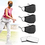3 pack face mask with 6 carbon filters, washable, reusable, adjustable mask (L)