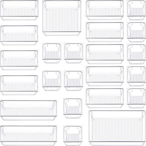 24 PCS Clear Desk Drawer Organizer Tray Plastic Bathroom Makeup Drawer Organizer 5 Size Customize Layout Organizer Container Versatile Kitchen Office Drawer Divider Bin for Dresser Vanity Cabinet