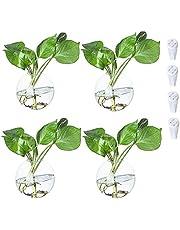 Vägghängande glas blomma vas terrarier planterare vägg bubbla inomhusväxter hållare vägg glasvas för luftväxter väggdekoration, 4 st (rund vas)