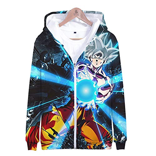 DYWLQ Felpa con Cappuccio per Uomo 3D Stampato Divertente Colorato Figura di Dragon Ball Naruto Venom Stelle Galaxy con ZipHooded Sweatshirt with Zip-L_03