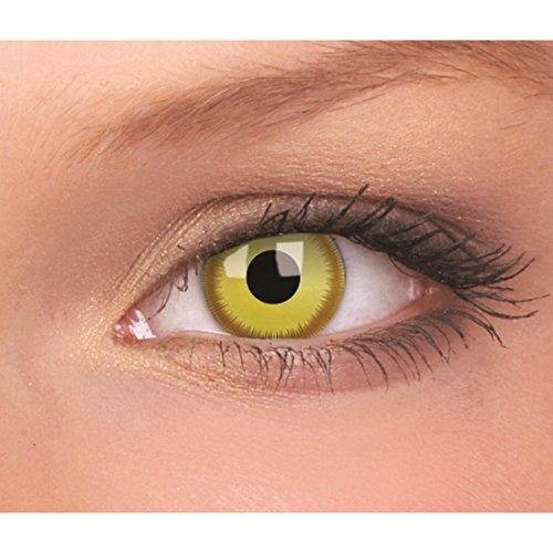 NET TOYS Avatar Kontaktlinsen Gelbe Farblinsen mit braunem Rand Motivlinsen Augenlinsen Effektlinsen