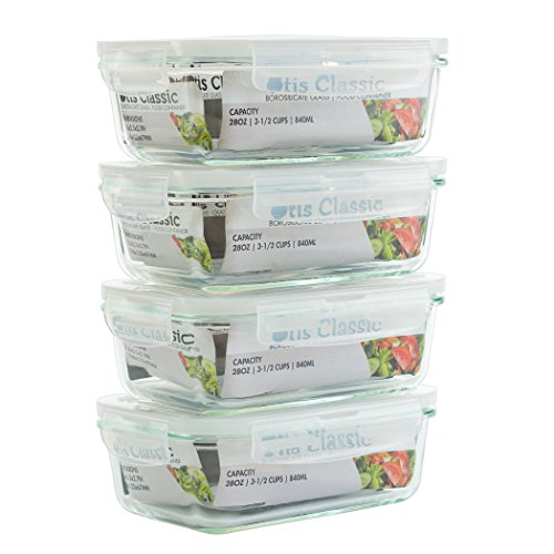 4Pack 28oz Glass Food Storage Containers with Locking Lids  Glass Meal Prep Containers with Lids  Lunch Bento Boxes  1 Compartment  4pk Box Set  Transparent Lids  BPA Free and Dishwasher Safe