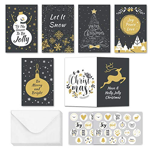 Christmas Greeting Cards Assortment Pack - Set of 36 Xmas Cards, 36 Envelopes, 36 Stickers for Winter Holidays, Xmas and New Year