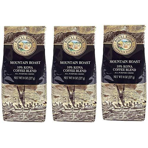 Royal Kona 10% Kona Coffee Blend, Mountain Roast, Ground, 8 Ounce Bag (Pack of Three)