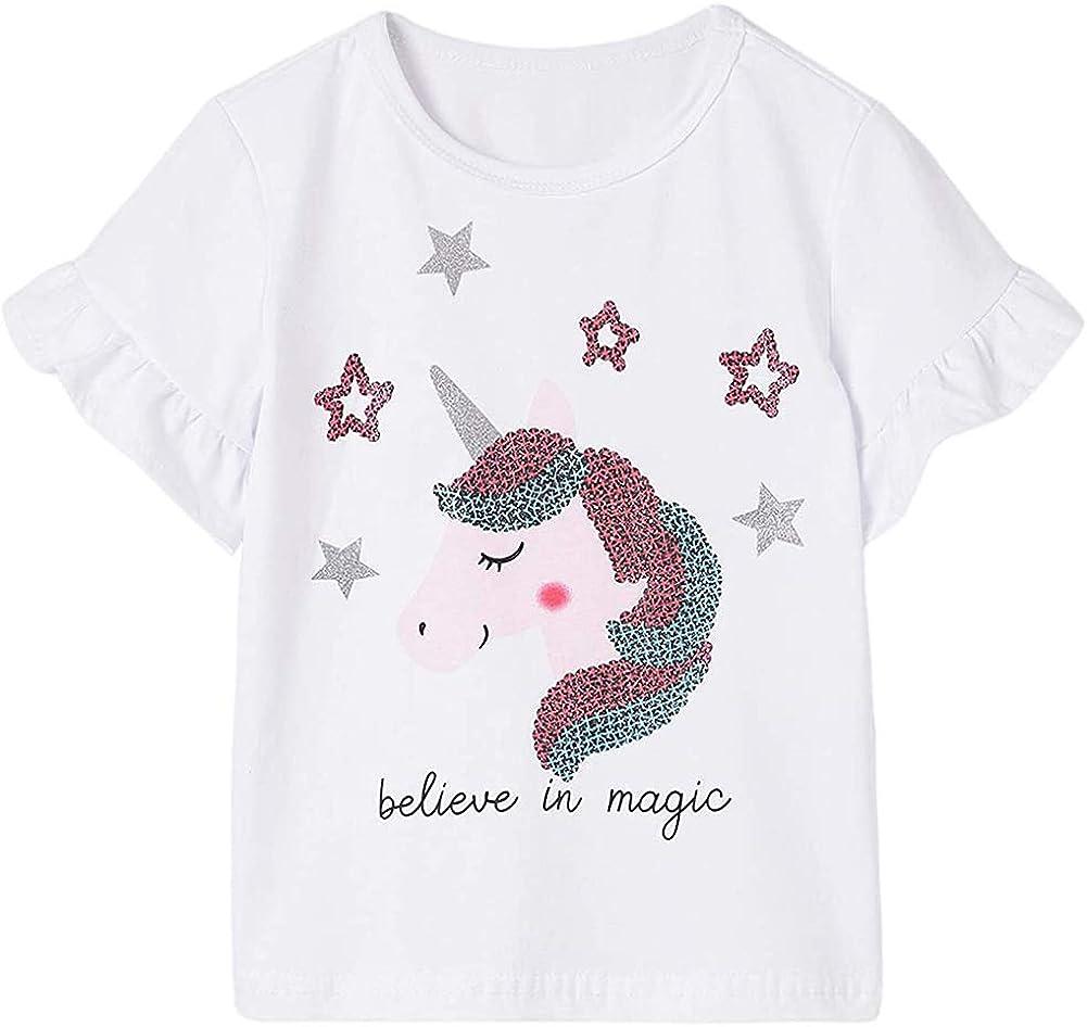 EULLA Toddler Girls Unicorn T-Shirt Short-Sleeve Ul Shirt Cotton Finally resale start Ranking TOP11