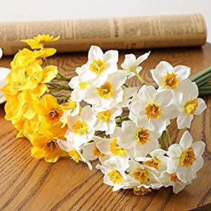 PinnacleT1 2 Bundles Artificial Narcissus Flowers,Fake Silk Daffodils Bundles,Handmade Plastic Flower Bouquet for Wedding Home Living Room Vases Office Party Table Centerpiece Decor Gift 15.7