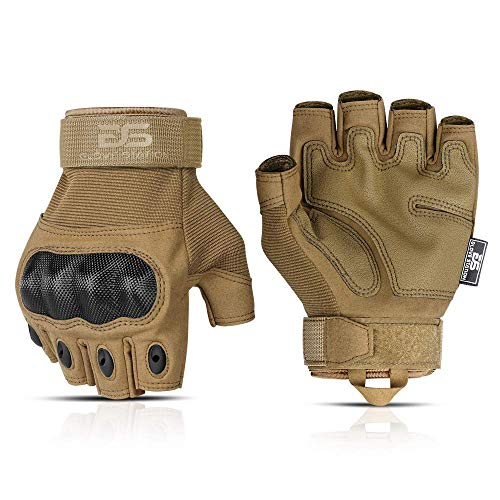 Glove Station The Combat Fingerless Military Police Outdoor Sports Tactical Rubber Knuckle Gloves for Men