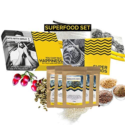 BIO Superfood Probierset 5x50g Superfoods Geschenkbox   Superfood für Einsteiger Geschenkidee 100% BIO Geschenkset für Frauen Männer   Geburtstag Weihnachten