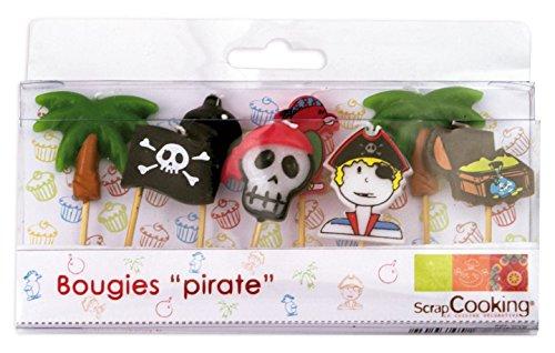 SCRAP COOKING 5000 8 Bougies - Pirates, Paraffine, Multicolore, 10,5 x 10 x 2 cm