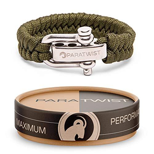 Crintiff - Bracelet en paracorde avec fermoi ajustable en acier inoxydable - Collection fold mountain - Couleur Vert olive