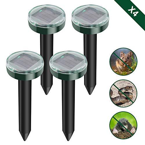 Weychen 4 Stück maulwurfschreck,Ultrasonic Solar Maulwurfschreck,Maulwurfabwehr,Wühlmausschreck Schlangenabwehr,wühlmausvertreiber für Draußen Gartenhöfe Rasen (4, Grün)