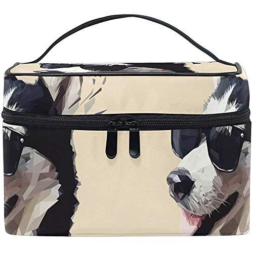 Schminktas Husky Funny Dog Echte draagbare grote cosmetische toilettas Train Case Organizer Box Pouch