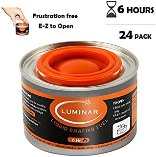24 pc 6 Hour Liquid Cooking Chafing Dish Fuel Cans, Food Warmer Heat for Buffet Burners, Parties, Weddings, Banquets, Catering Events, Bulk, Easy to Open, Resealable Covers
