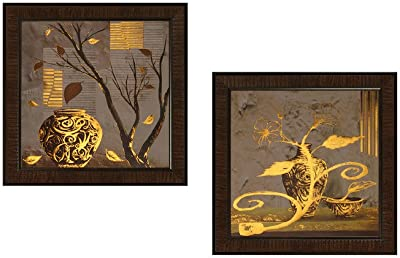 SAF Flower Textured UV Print Painting(Set of 2, 35 cm x 2 cm x 35 cm) SANFPD103