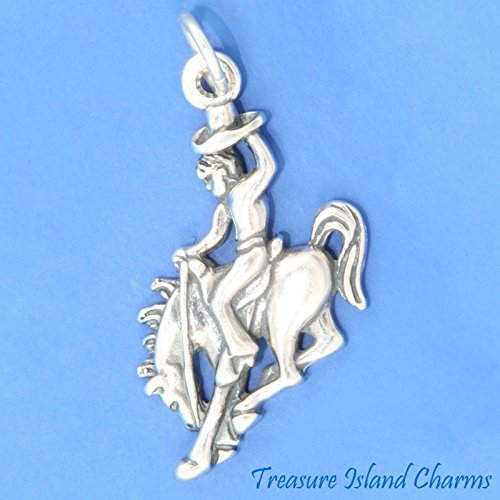 COWBOY BRONCO HORSE RIDER RODEO .925 Sterling Silver Charm Pendant Jewelry Making Supply Pendant Bracelet DIY Crafting by Wholesale Charms