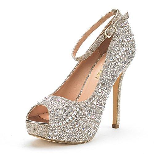 DREAM PAIRS Women's Swan-10 Shine Gold High Heel Plaform Dress Pump Shoes - 6 M US