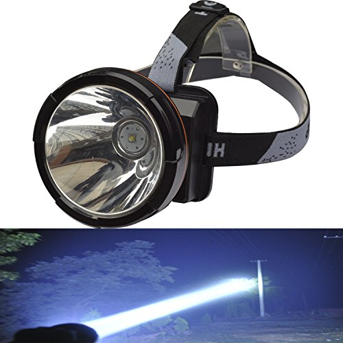 Odear Super Bright Headlamp Rechargeable LED Spotlight with Battery Powered Headlight for Garden Outdoor Camping Fishing (Large)