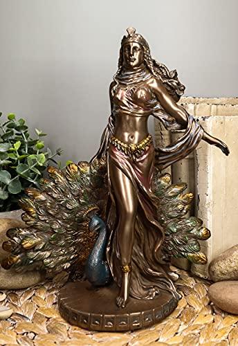Ebros Gift Roman Juno Greek Goddess Hera with Sacred Peacock Statue Deity of Marriage Fertility & Women Decorative Figurine Mythology Deity Heiress Wife of Zeus
