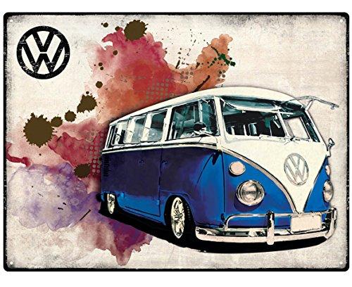 original VW Samba Bus Bulli CAMPER GRUNGE DARK BLUE Blechschild METALLSCHILD Wandschild 30x40cm RHL