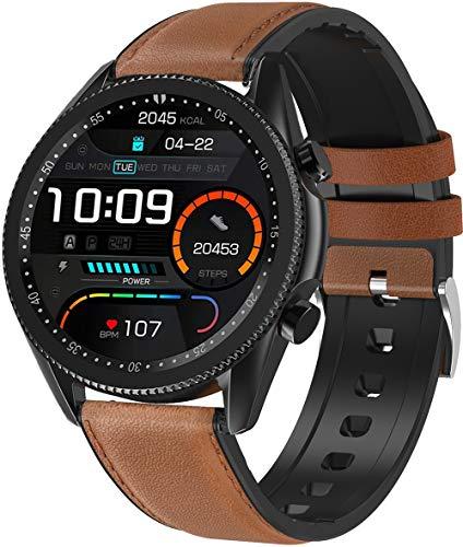 ANSUNG Relojes Inteligentes Hombre Llamada Bluetooth, con 24 Modos Deportivos Pulsómetro Calorías Monitor de Sueño Podómetro,IP67 Impermeable Compatible con iOS Android(Marrón)