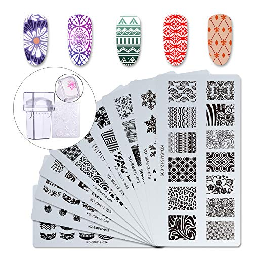 Makartt 12pcs Nail Art Stamp Stamping Templates Kit with 10pcs Plastic Manicure Plates 1 Stamper 1 Scraper for DIY &...