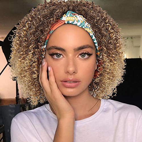 Deep Curly Wave Brown Wig with Headband Attached Short Hairstyles Wigs for Black Women,CINHOO Afro Wig Jerry Curl Wig Full Virgin Hair with Printed Cotton Headbands 2 in 1Wrap Wig for Women(4/27)
