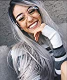 Zenith Grey Lace Front Wigs for Women Black Rooted Silver Grey Hair Wig Natural Weave Long Wigs with Black Roots Middle Part 22 inch Best Affordable Wigs for Daily Use