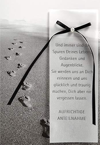 Trauerkarte Lifestyle - Spuren im Sand - 11,6 x 16,6 cm