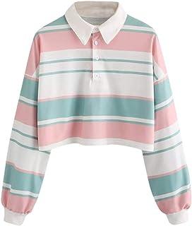 Sudaderas con Capucha Cortas Mujer Tumblr Rainbow Estampado Camiseta de Manga Larga para Adolescentes Chicas - soolike