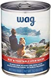 Amazon Brand - Wag Wet Canned Dog Food, Beef & Vegetable Stew Recipe, 13.2 oz Can (Pack of 12)