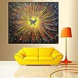 3D Psychedelic Butterfly Sunflower Abstract Oil Painting Imprimir en lienzo Arte Imagen de la pared Sala de estar A 50x60CM