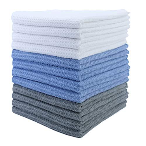 Polyte - Paño de Cocina de Microfibra superabsorbente - Punto gofrado - Azul, Gris, Blanco - 40 x 71cm - Pack de 12