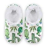 TropicalLife BGIFT Pantuflas con diseño de flores y cactus para mujer y hombre, espuma viscoelástica, cálidas y suaves, forradas con forro polar, para interiores y exteriores, para dormitorio, antide