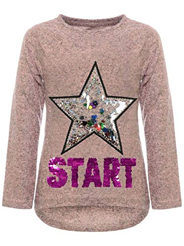 BEZLIT Kinder Mädchen Pullover Sweatshirt Pulli Wende-Pailletten Sweater Langarm-Shirt 30015 Rosa 146