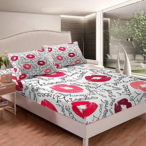 Loussiesd Kiss Bed Sheet Set Feminine Red Lips Bedding Set for Girls Children Women Lipstick Print Fitted Sheet Stain Resistant Sexy Mouth Pattern Decor Decor Single Size Bed Cover 2Pcs