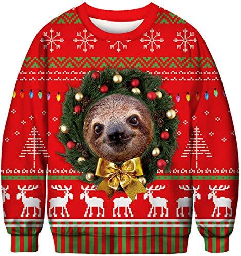Un pull avec un paresseux de Noël