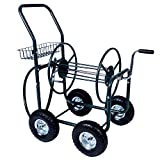 KARMAS PRODUCT 4 Wheels Portable Garden Hose Reel Cart  with Storage Basket  Rust Resistant Heavy Duty Water Hose Holder