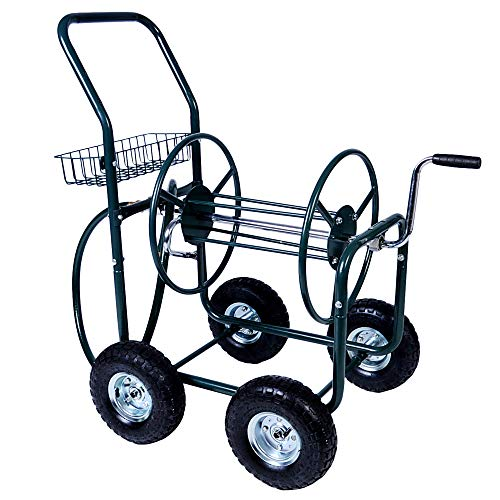 KARMAS PRODUCT Garden Hose Reel Cart 4 Wheels Portable with Storage Basket Rust Resistant Heavy Duty Water Hose Holder