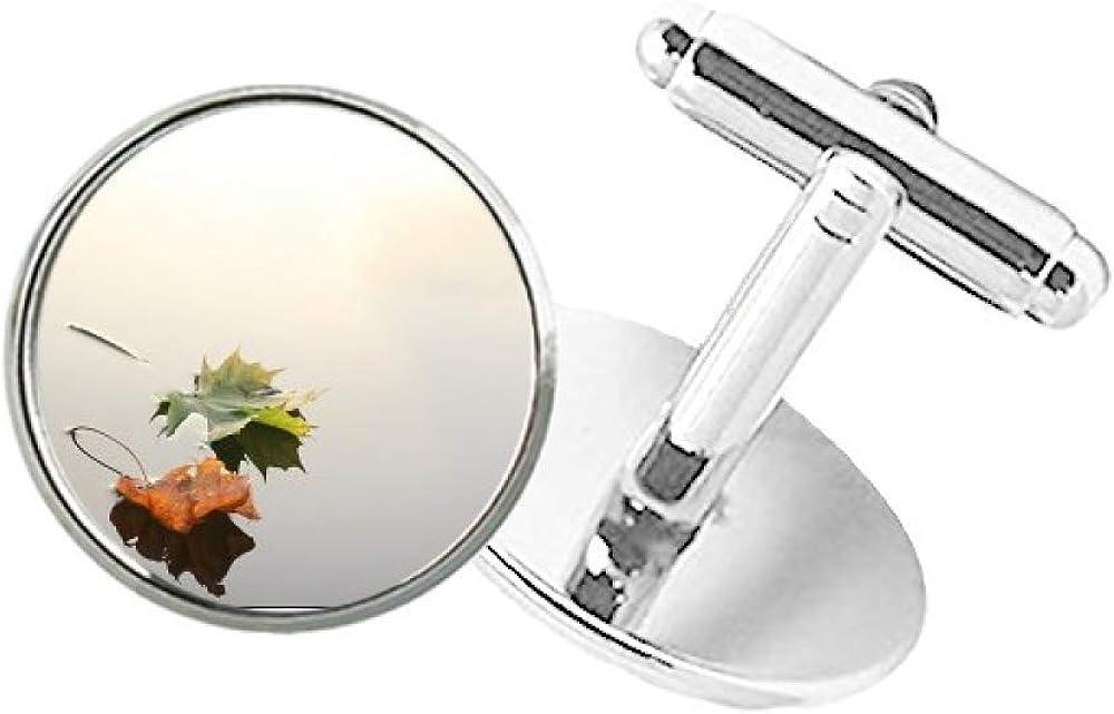 DIYthinker Fallen Leaves Water Sale 5 popular price Nature Round Clip Button Stu Cuff